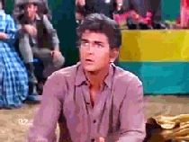 """'Hoss, stop squeezing him and pin him!' – Hoss could've won $100 in this fight…if only he had listened to Little Joe (Dan Blocker; Michael Landon; """"Old Sheba"""", S6E10, 1964)"""