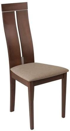 Avalon Espresso Finish Wood Dining Chair with Clean Lines and Golden Honey Brown Fabric Seat---Furnish your formal or informal dining room with this elegantly designed chair. Chair features a curved, slit open designer back with silver accents. Dining Room Furniture, Living Room Chairs, Furniture Design, Dining Chairs, Wooden Furniture, Dining Table, Informal Dining Rooms, Side Chairs, Contemporary Design