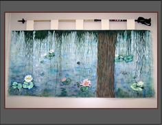 Smaller sizes available at a lower cost, message me for details or design ideas you would like!  I designed and painted Monet Water Lillie's on this large 3' x 6' piece of canvas material the I hand s
