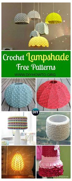 Crochet Home Decor, Crochet Crafts, Yarn Crafts, Crochet Projects, Diy And Crafts, Diy Projects, Lampe Crochet, Crochet Lampshade, Cute Crochet
