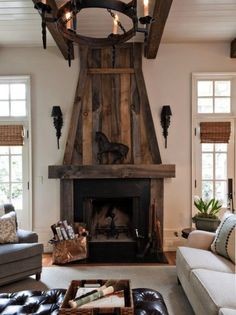 Check Out This Fabulous Reclaimed Wood Fireplace