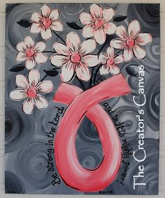 Breast Cancer Awareness Ribbon, Survivor Painting, Daisies, Flowers, Bible Verse, Scripture. $75.00, via Etsy.