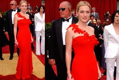 Keeping things simple Kate Winslet wore this Ben de Lisi dress with floral garland in 2002.