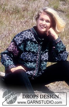 "Drops Jacket with floral border repeat in ""Karisma Superwash"" Long or short version. ~ DROPS Design"
