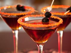 Black Devil Martini    2 oz. dark rum   1/2 oz. dry vermouth   Black olive     Directions  Stir and strain into chilled martini glass, garnish with olive.