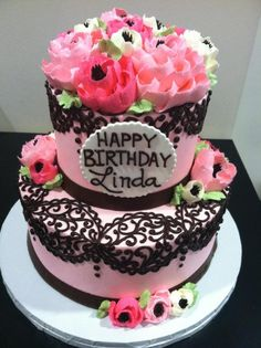 2 tier buttercream lace and flower cake Buttercream Cake Designs, Cake Icing, Cupcake Cakes, Cupcakes, Pretty Cakes, Beautiful Cakes, Amazing Cakes, White Flower Cake Shoppe, Cake Designs For Girl