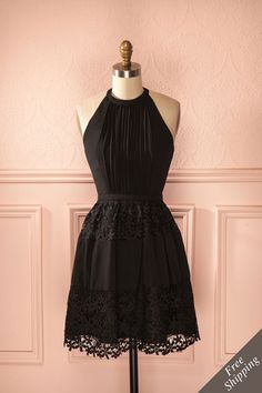 Bergdis Shadow - Black A-line embroidered sleeveless halter dress Date Dresses, Formal Dresses, Midi Dresses, Wedding Dresses, Unique Dresses, Vintage Dresses, Prom Dresses Montreal, New Dress, Lace Dress