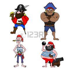 Cuatro piratas de dibujos animados sobre un fondo blanco Foto de archivo