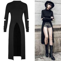 Women Black Gothic Fashion Sweater Coat Clothing Store Online SKU-11411062