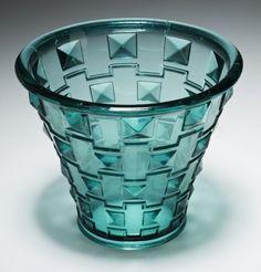 Glass vase designed by Simon Gate (1883-1945) for Swedish glassmaker Orrefors, circa 1930.