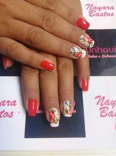 Manicure, Nails, Nail Art, Beauty, Nail Art Flowers, Red Nail Polish, Red Toenails, Nailed It, Nail Arts