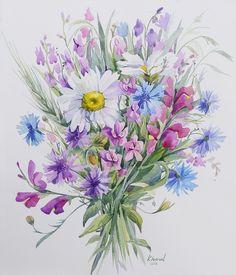 Watercolorist @khmel_alena Лена Хмель акварель полевой букет, полевые цветы, ромашки акварелью