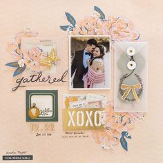 Wedding scrapbook page layout idea made with Crate Paper - Maggie Holmes Heritage collection. 12x12 Scrapbook, Scrapbook Journal, Scrapbook Page Layouts, Scrapbook Albums, Journal Cards, Crate Paper, Studio Calico, Cute Envelopes, Smash Book Pages