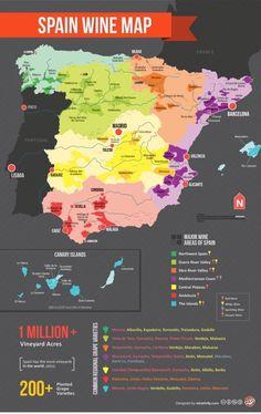 El mapa del #vino en España Fuente:http://www.telecinco.es/