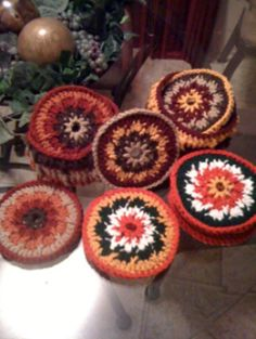 C/D Coasters by CrochetByChristineLH on Etsy, $20.00 per set of 4 incl. basket. Made with old CDs. Choice of any four colors, all rooms, in and outdoors, entertaining and holidays.