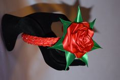 Handmade red and green satin rose on headband. by AngelinasFlowers