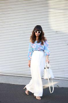 Resort Wear, White wide leg pants, MinkPink off the shoulder blouse, Zara white retro sunglasses