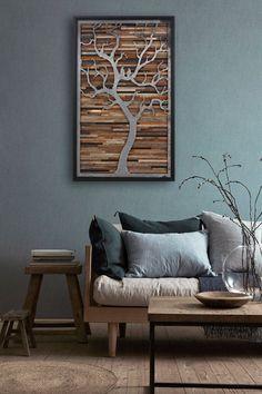 Wood wall art made of old barnwood and natural by CarpenterCraig