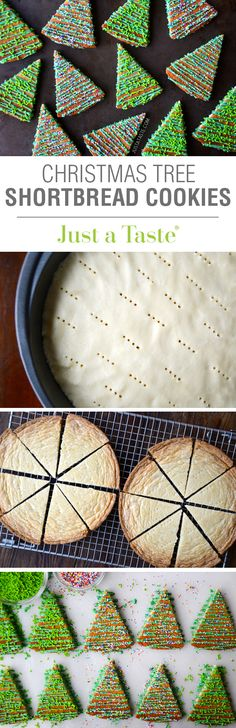Christmas Tree Shortbread Cookies recipe via justataste.com