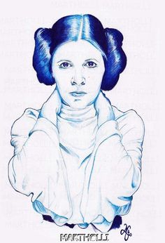 Carrie Fisher/Princesa  Leia (Bic sobre papel canson)