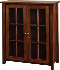 Amish Eshton Bookcase with Doors The Eshton is classic and strong. Mission style captured with slender wood mullions and squared legs. Includes two adjustable shelves. Handcrafted in choice of wood and finish.