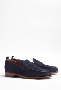 Navy Suede James Penny Loafers by Grenson
