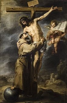 Saint Francis of Assisi embracing the crucified Christ by Bartolome Esteban Murillo. Museum of Fine Arts of Seville, Seville, Spain Catholic Art, Catholic Saints, Papa Pio Xi, St Francis Assisi, Rennaissance Art, Esteban Murillo, Lives Of The Saints, St Clare's, Crucifixion Of Jesus