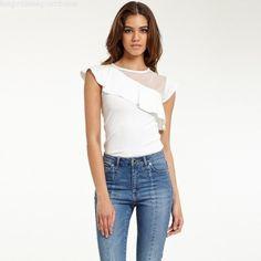 Acheter Top à volant et dentelle plumetis femme - Blanc - Morgan - Femme 2571297