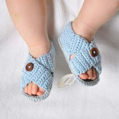 LittleSpring Retail In Stock! Baby Girls Todder pre-walker shoes infant baby knit by hand soft sole baby shoes Crochet Baby Sandals, Booties Crochet, Crochet Baby Clothes, Crochet Shoes, Crochet Slippers, Baby Knitting Patterns, Baby Patterns, Crochet Patterns, Crochet For Boys