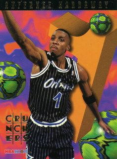 RARE 95/96 NBA HOOPS NUMBERS CRUNCHERS ANFERNEE HARDAWAY ORLANDO MAGIC MINT