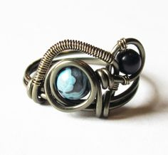 Boho  Steampunk Jewelry Wire Wrapped Ring Blue by DistortedEarth, $14.00