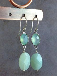 Chalcedony and amazonite earrings. Aqua blue gemstone jewelry. Sterling silver french hooks. Handmade blue green semiprecious stone earrings from Gems by Kelley.