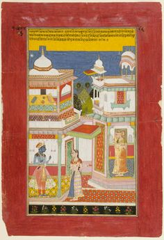 Krishna's Manifest Endeavor. From a dispersed series of the Rasikapriya, Opaque watercolor and gold on paper, Rajasthan, Bundi or Kota, ca. 1680, ... Radha's sakhi (friend) confronts the blue-skinned god on behalf of the heroine, who waits in the second pavilion; The sakhi reminds Krishna that he has used many tactics to win Radha and asks why he hesitates to go to her now that she is nearby and waiting. ...