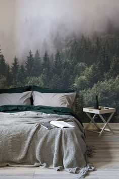 Rest easy amongst the treetops with this breathtakingly beautiful forest wallpaper Intense hues of emerald green contrast the thick mist giving your bedroom spaces depth. Green Bedroom Design, Bedroom Green, Home Bedroom, Master Bedroom, Forest Bedroom, Emerald Bedroom, Modern Bedroom, Minimalist Bedroom, Bedroom Designs