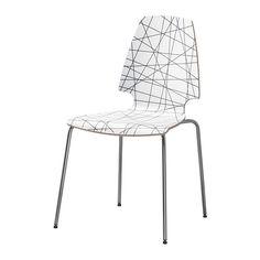 IKEA - VILMAR, Stoel, Het melamine oppervlak van de stoel is duurzaam en eenvoudig schoon te maken.De stoelen zijn stapelbaar. 39,95/stuk; zithoogte 45 cm