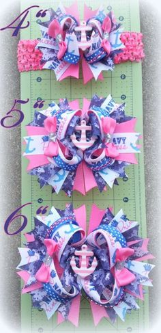 Sizing Chart for Over the Top Boutique Bows!  Check out www.facebook.com/missbsbowtique05 or www.etsy.com/shop/missbsbowtique05 for more of my work!
