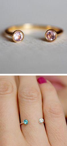 Me + You Birthday Stone Rings