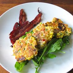 Hatch Chile Corn Fritters -- Good concept; followed recipe loosely, upped the ratio of peppers and onions to corn, used smoked paprika. Serve with spinach and a lemon vinaigrette