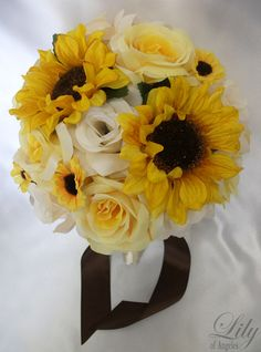 Vase Centerpiece Wedding Decoration Sunflower Yellow - Would love this as my bouquet