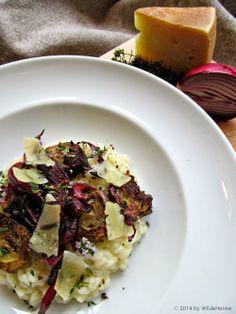 Risotto mit Ziegenkäse, Artischocken und roten Zwiebeln