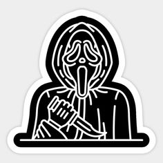 Shop Ghostface horror stickers designed by sofiaayuso as well as other horror merchandise at TeePublic. Halloween Prints, Diy Stickers, Aesthetic Stickers, Sticker Design, Grunge, Horror, Cross Stitch, Wallpaper, Cool
