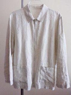 Eileen Fisher jacket lagenlook coat top artsy art to wear Irish Linen stone 1X #EileenFisher #BasicJacket