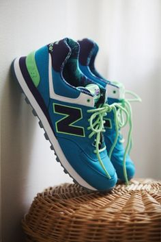 bright blue and green new balance trainers - love!