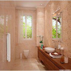 Revestimento de parede retificado 30x54cm Bordo di Marmo beige Porto Ferreira - Telhanorte Alcove, Bathtub, Bathroom, Enamels, Indoor Balcony, Bathrooms, Beige, Brown, Standing Bath