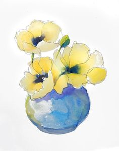 Yellow Poppies Watercolor Painting 11 x 14 print of original
