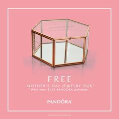 #DOTreatMom this Mother's Day! Starting tomorrow April 27th through April 30th, receive a FREE Mother's Day Jewelry Box with your $125 PANDORA purchase. While supplies last. See store for details.