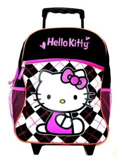"""Sanrio Hello Kitty Large Rolling Backpack - Rolling Backpack by Sanrio. $34.50. large rolling backpack, strong wheels,  approx 16""""x12"""", retractable handle  licensed item, brand new,  spacious zippered compartment,  big front pocket and side compartment."""""""