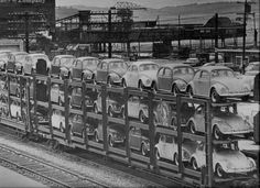 VW bugs being hauled by train