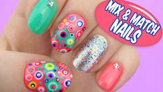 Mix and Match Nails. Nail art using dotting tools, q-tip, few nail polishes, glitter polish and couple of rhinestones. Manicure combining different nail art designs into a funky complete look.