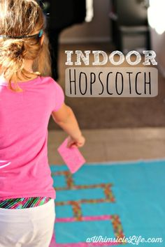 When the weather makes it impossible to play outside, this indoor hopscotch brings the fun indoors. All the materials to make it come from the dollar store.  Stock up on these simple supplies now to be prepared when rain (or heat advisory) hits!